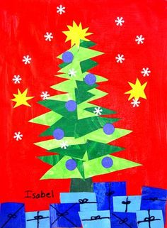Matisse-inspired Christmas tree --- May adapt this for primary grads to create using circles, squares and 3 types of triangles... The art of math