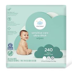 Packaging production design for Cloud Island diapers and wipes, Target's owned-brand essentials line for baby. Tree Bookcase, Cloud Island, Muslin Swaddle Blanket, Sensitive Skin Care, Cute Packaging, Baby Skin, Organic Coconut Oil, Washing Clothes