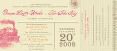 Train ticket wedding invitation--Cute idea to use for party invite, too. Boarding Pass Invitation, Ticket Invitation, Party Invitations, Invitation Ideas, Invites, Retro Wedding Theme, Wedding Stuff, Wedding Ideas, Wedding