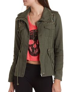 Rhinestone Studded Anorak Jacket: Charlotte Russe Cute Fall Outfits, Fall Winter Outfits, Winter Wear, Winter Clothes, Punk Fashion, Love Fashion, Autumn Fashion, Fashion Outfits, Fashion Trends