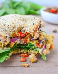 The Ultimate Chickpea Salad Deli Sandwich! Chickpea salad, homemade peach chutney, curry mayo. Vegan and easily gluten-free recipe | www.delishknowledge.com