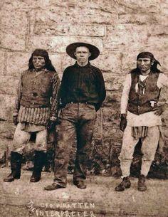 L-R: Fun (Chirihahua Apache), George Wratten (Interpreter), Perico (Chiricahua Apache) at Fort Sam Houston in Texas - 1886: