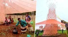 Cette tour écologique transforme l'air en eau potable, la Warka de la société warka water. Coût de +/- 1000$, se monte en 4 jours par 6 personnes. Jusqu'à 100litres d'eau par jour. En materiau éco responsable
