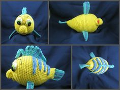 "Flounder the Friendly Fish - $5.00 - What a sweet fish to crochet . This is a 12 page pattern. Lots of picture to show you how to sew pieces on.  Size: 10"" long, 5"" wide without fin, 8"" wide with fins, 6"" tall"
