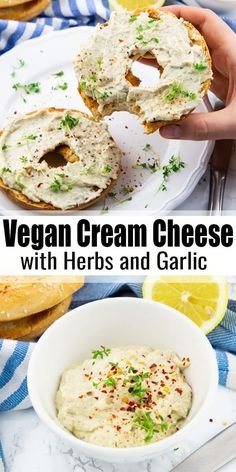 Kiss your dairy products goodbye and say hello to this delicious vegan cream cheese with garlic and fresh herbs. It's incredibly creamy and easy to make! It's one of my favorite vegan cheese recipes! Breakfast Recipes Vegan Cream Cheese with Cashews Cashew Recipes, Healthy Food Recipes, Vegan Cheese Recipes, Vegan Cream Cheese, Vegan Sauces, Vegan Breakfast Recipes, Vegan Foods, Vegan Dishes, Whole Food Recipes