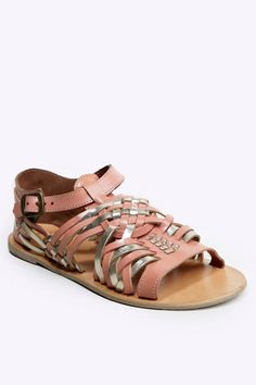 Coral & Gold Woven Sandals