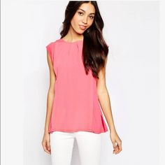 Pink Top with Keyhole Back Salmon pink top with keyhole back. Gently worn and in perfect condition ASOS Tops Blouses