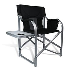 High Comfort U0026 Sturdy And Padding Director Aluminum Folding Chair With  Armrest Table And Cup Holder