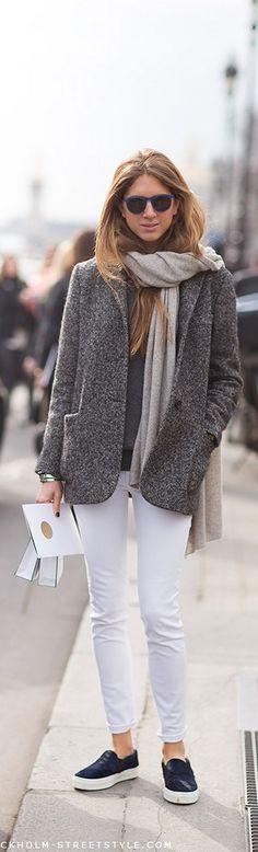 Pantalón blanco en invierno, porque no? una buena manera de darle color a la temporada más oscura del año