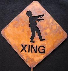 Zombie Crossing Metal Yard Sign