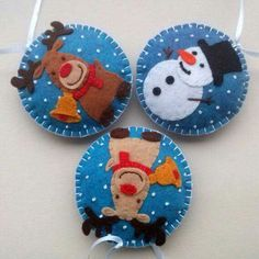 Felt christmas ornaments set of 3 snowman brown by DusiCrafts Christmas Sewing, Handmade Christmas, Christmas Crafts, White Christmas, Christmas Projects, Felt Crafts, Holiday Crafts, Felt Christmas Decorations, Felt Christmas Ornaments