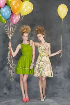 floral vintage bridesmaids dresses. these are cute as long as we can do something different with our hair