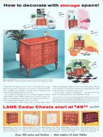 Lane Italian Provincial Chest 1956 Ad. Also in Pumice-gray Walnut. Colonial design in Maple. Modern Pearl Gray Mahogany. Also in Seafoam, Co...