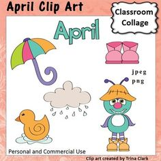 Fun graphics for the month of April!Set includes a worksheet with all graphics on it.(Black and white version of these graphics also available)Each design is offered as a jpeg file and a png file. This product is a .zip file.   PNG format has a transparent background so that it can be layered and easily positioned.