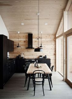 I like the way the black looks on the lighter wood but I feel like its overwhelming with black and why would you want black cabinets house interior Modern Interior Design of a Log House Plays with Contrasts - Honka Modern Cabin Interior, Modern House Design, Natural Modern Interior, Modern Cabin Decor, Modern Log Cabins, Modern Loft, Luxury Interior, Home Decor Kitchen, Kitchen Interior