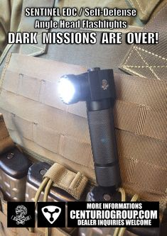 SENTINEL EDC / Self-Defense Angle Head Flashlights attached at a Molle Vest