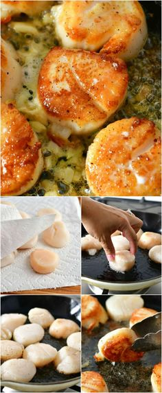 Seared scallops are incredibly easy to make at home and insanely delicious. Learn how to make seared scallops with a few simple tips. Ten minutes is all you need to make restaurant quality (and even better) scallops. #seafood #dinner #scallops #easymeals #easydinner #seared Entree Recipes, Fish Recipes, Easy Dinner Recipes, Seafood Recipes, Easy Meals, Cooking Recipes, Healthy Recipes, Thm Recipes, Skillet Recipes