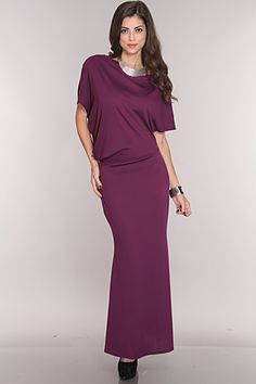 This simple yet affordable stylish maxi dress is a definite must have to add to your collection. You can dress up or dress in this cute dress. Its great for any occasion! Features includes: soft knit, maxi dress with an asymmetrical cut, a wide neck, slouchy top, and an elastic waist. 69% Poly. 27% Ray. 4% Span. Made in U.S.A.