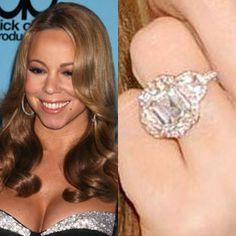 Mariah Carey has a 10 carat emerald cut pink diamond with 58 pink diamonds and 2 half moons surrounding it. The rings totals 17 carats. https://www.facebook.com/SpitzJewelers