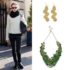Add some glamor to your shapeless winter sweaters with iconic and colorful jewelry like the $44 gold zigzags http://www.ktcollection.com/item/GE085/gold-zigzag-earrings/ and the $55 green gem collar necklace http://www.ktcollection.com/item/PN089/green-gem-collar-necklace/.