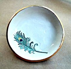 Ceramic  Ring Holder bowl OFF WHITE Peacock Feather by dgordon