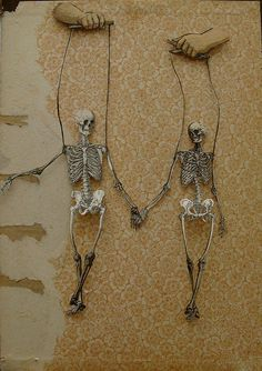 danse macabre antique papercut collage