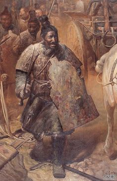Ancient China in the paintings of contemporary artists Chinese Weapons, Chinese Armor, Asian History, Art History, British History, History Facts, Military Art, Military History, Sword And Sorcery
