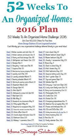 Free printable list of the 52 Weeks To An Organized Home Challenges for 2016. Join over 200,000 others who are getting their homes organized one week at a time! {on Home Storage Solutions 101}