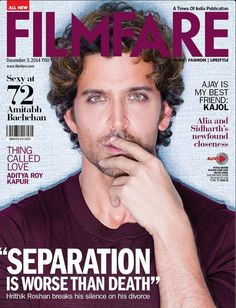 """Separation is worse than death"" : Hrithik Roshan covers Filmfare 