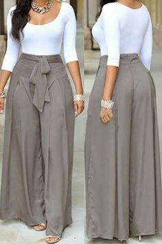 Dress pants outfits - Casual O Neck Three Quarter Sleeves Laceup Twopiece Pants Set(White Top+Silver Bottom) Twopiece Outfits Womens Clothing LovelyWholesale Wholesale Shoes,Wholesale Clothing, Cheap Clothes,Cheap Sho Classy Dress, Classy Outfits, Chic Outfits, Dress Outfits, Dress Pants, Spring Outfits, Latest African Fashion Dresses, African Dresses For Women, African Print Fashion