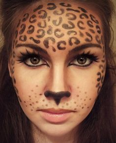 Halloween Face Paint Designs and Ideas 2015 for more Halloween Makeup Ideas and . - Halloween Face Paint Designs and Ideas 2015 for more Halloween Makeup Ideas and … – Make Up – - Halloween Face Paint Designs, Face Painting Designs, Halloween Face Paintings, Painting Tutorials, Painting Patterns, Leopard Costume, Animal Makeup, Cheetah Makeup, Cheetah Face Paint