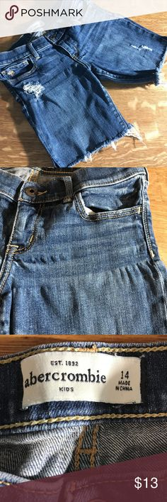 """Abercrombie & Fitch Girls Distressed Jean Shorts Abercrombie & Fitch Kids Girls Size 14 Distressed Jean Denim Cutoff Shorts  Good condition; please see pictures for noted pulls in denim. The shorts have some stretch.  Approximate Measurements:  Waist: 24"""" Inseam: 6.5""""  I describe my items to the best of my ability. If you find that the item or its condition is different than described, please contact me and I will resolve any issues ASAP.  Thanks for stopping by and be sure to check out my…"""
