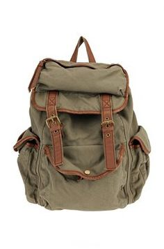 5c262d8f97 Military Style Canvas Travel Backpack with Many Pockets