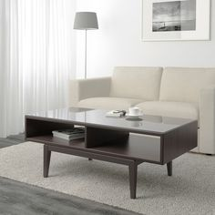REGISSÖR Coffee table - brown, glass - IKEA