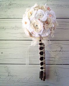 Shabby Chic wedding bouquet with yarn flowers