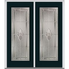 Milliken Millwork 74 in. x 81.75 in. Master Nouveau Decorative Glass Full Lite Painted Fiberglass Smooth Exterior Double Door, Dark Night