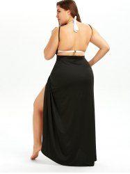 Plus Size Beach Wrap Cover Up Dress - BLACK 5XL Mobile