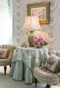 Cottage Charm ~ green and white