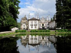 Reflection of palace, Solar de Mateus in is lake at Vila Real
