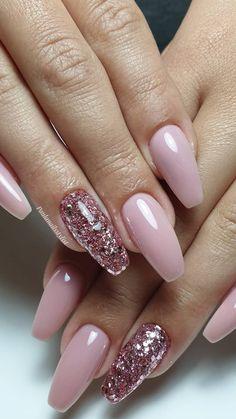 Pink Nail Art, Cute Acrylic Nails, Acrylic Nail Designs, Cute Nails, Light Pink Acrylic Nails, Cute Nail Designs, Nail Designs With Glitter, Light Pink Nail Designs, Pretty Nail Art