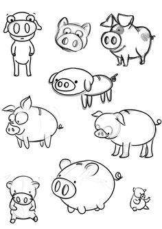 Boceto de diferentes Cerditos :)