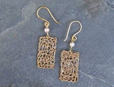 Gold crochet earrings with fresh water pearls. Handmade by ByDrora, $25.00