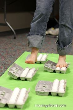 Easy Science Experiments for Kids ~ Walking on Raw Eggs Science...will they crack?