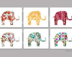 There are six artsy elephant prints in this listing. They are filled with different original digital collage patterns that I have made. The text that Love Wall Art, Wall Art Prints, Artsy Bilder, Yellow Turquoise, Orange Yellow, Hipster Home Decor, Batik Art, Elephant Art, Button Crafts