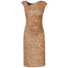 L.K. Bennett Jazz Sequin Dress ($190) ❤ liked on Polyvore featuring dresses, evening cocktail dresses, sleeve maxi dress, beige cocktail dress, maxi dresses and knee length cocktail dresses