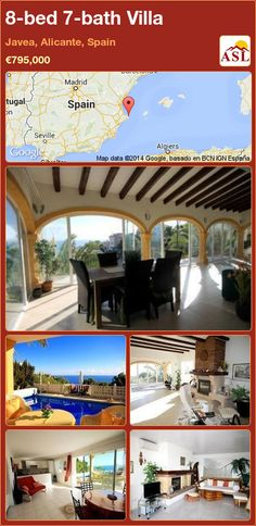 Villa for Sale in Javea, Alicante, Spain with 8 bedrooms, 7 bathrooms - A Spanish Life Alicante Spain, Summer Kitchen, Central Heating, Mediterranean Sea, Terrace, Swimming Pools, Home And Family, Villa, Bathroom