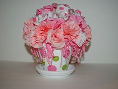 "Floral Bouquet, Paper Flowers in Pinks and Polka Dots, ""Happy Birthday"" Bouquet, ""Get Well"" Gift, Paper Flowers That Will last by TheBouncingFrogs on Etsy"