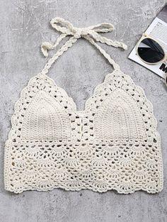 Crochet Back Tie Bralette Swim Top - Off-white Tank Top Swimsuit, Crochet Bra, Crochet Bikini Top, Free Crochet, Bikinis For Sale, Cute Bikinis, Zaful Bikinis, Outfits, Tejidos