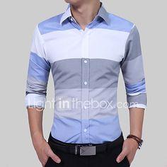 Men's Clothing Fashion Male Shirt Long-Sleeves Tops Large Striped Men's Casual Mens Dress Shirts Slim Men Shirt Blue Asian XXL 75 to Formal Shirts, Casual Shirts, Long Sleeve Tops, Long Sleeve Shirts, Mens Shirts Online, Men Shirts, Men Dress, Shirt Dress, Collar Dress
