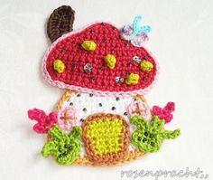 Crochet Applique Patterns Free, Crochet Baby Blanket Free Pattern, Hand Embroidery Patterns, Crochet Motif, Crochet Designs, Crochet Flowers, Crochet Crafts, Crochet Projects, Crochet Mushroom